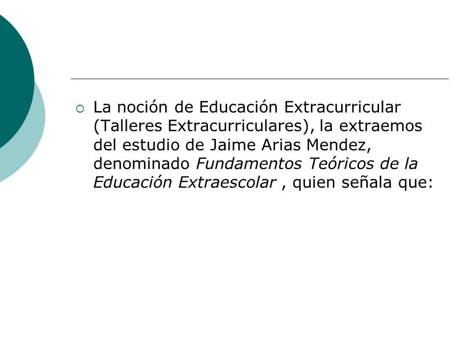 La noción de Educación Extracurricular (Talleres Extracurriculares), la extraemos del estudio de Jaime Arias Mendez, denominado Fundamentos Teóricos de la Educación Extraescolar , quien señala que: