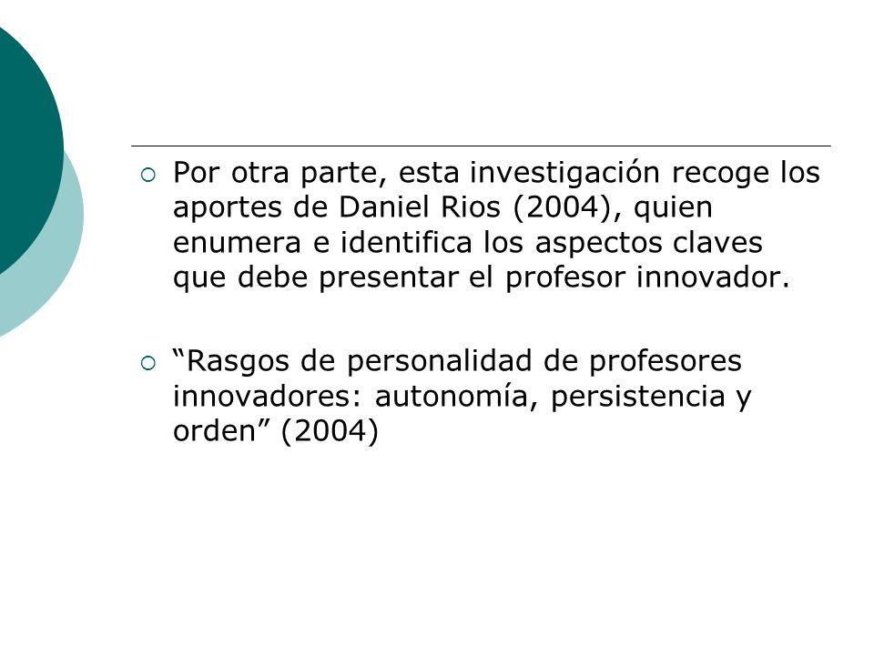 Por otra parte, esta investigación recoge los aportes de Daniel Rios (2004), quien enumera e identifica los aspectos claves que debe presentar el profesor innovador.