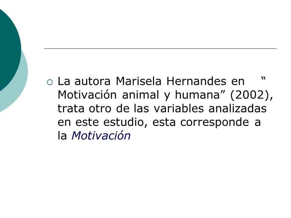 La autora Marisela Hernandes en Motivación animal y humana (2002), trata otro de las variables analizadas en este estudio, esta corresponde a la Motivación
