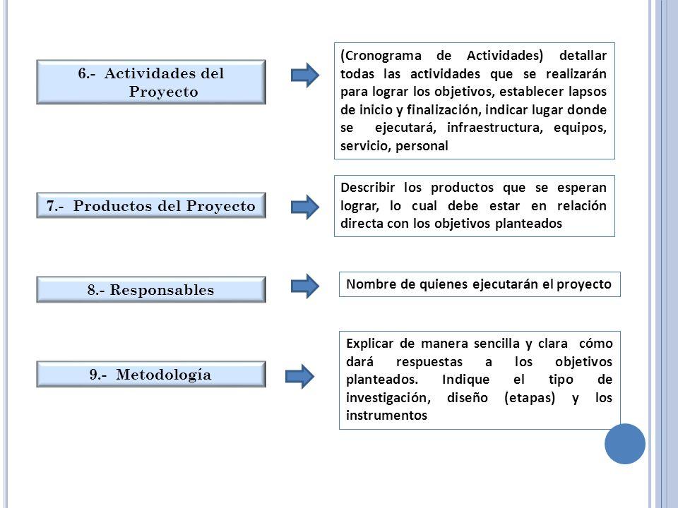6.- Actividades del Proyecto 7.- Productos del Proyecto