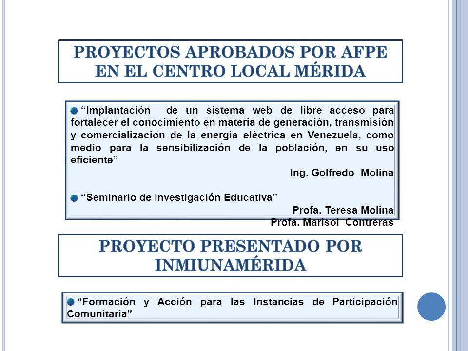 PROYECTOS APROBADOS POR AFPE EN EL CENTRO LOCAL MÉRIDA
