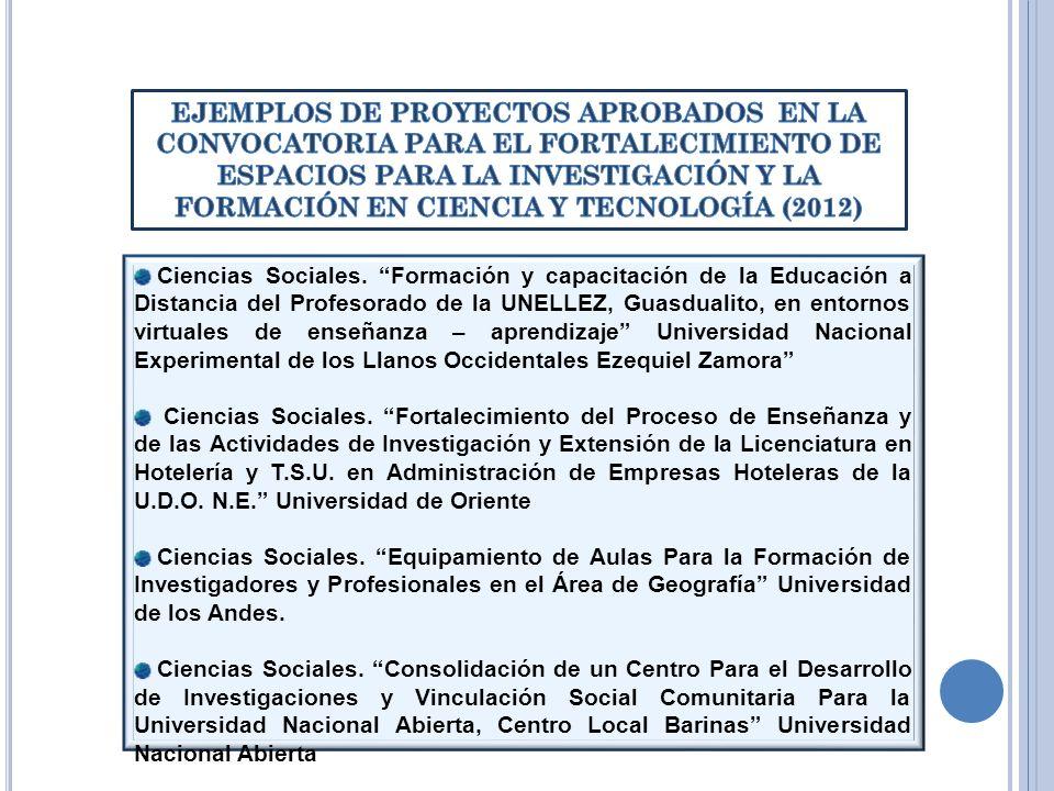 EJEMPLOS DE PROYECTOS APROBADOS EN LA CONVOCATORIA PARA EL FORTALECIMIENTO DE ESPACIOS PARA LA INVESTIGACIÓN Y LA FORMACIÓN EN CIENCIA Y TECNOLOGÍA (2012)
