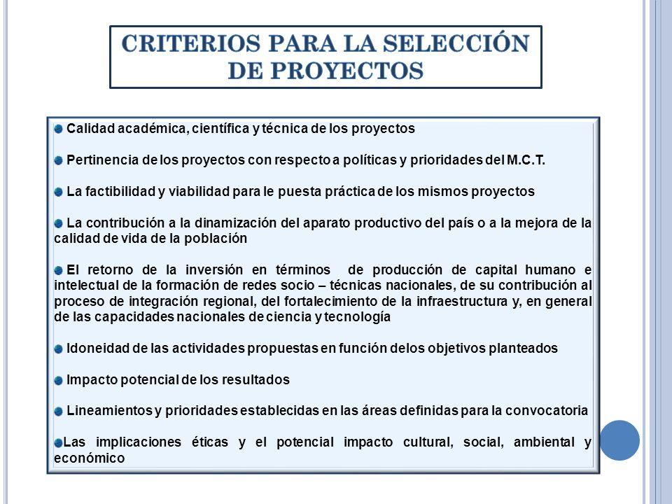 CRITERIOS PARA LA SELECCIÓN DE PROYECTOS