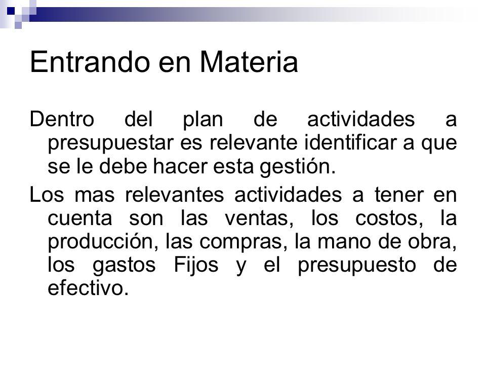 Entrando en Materia Dentro del plan de actividades a presupuestar es relevante identificar a que se le debe hacer esta gestión.