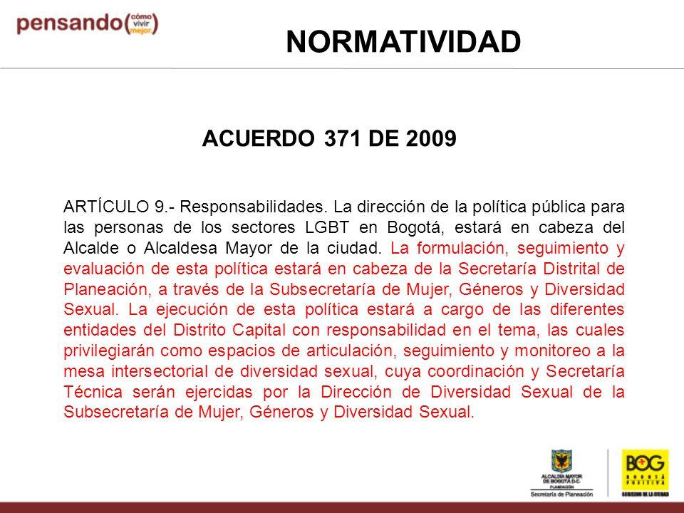 NORMATIVIDAD ACUERDO 371 DE 2009