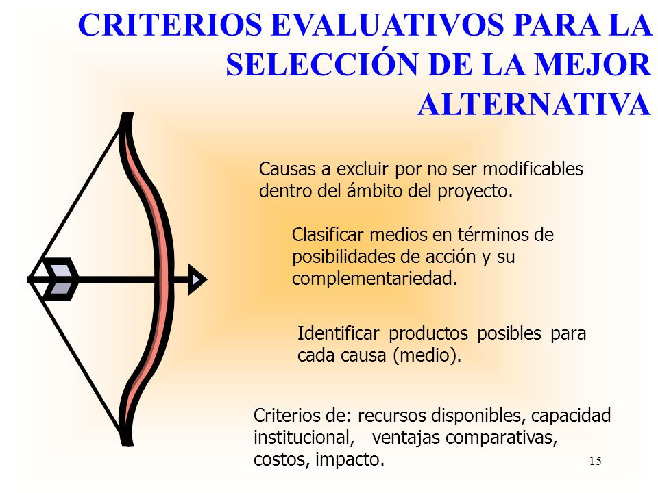 CRITERIOS EVALUATIVOS PARA LA SELECCIÓN DE LA MEJOR ALTERNATIVA