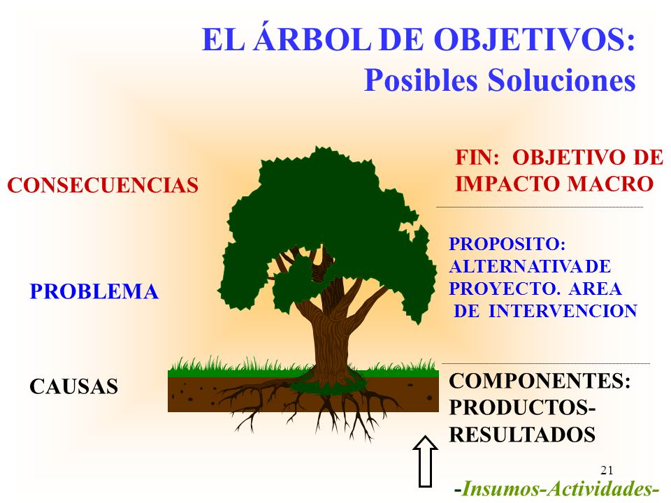 EL ÁRBOL DE OBJETIVOS: Posibles Soluciones FIN: OBJETIVO DE