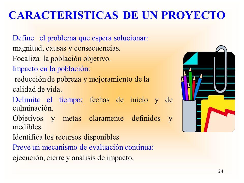 CARACTERISTICAS DE UN PROYECTO