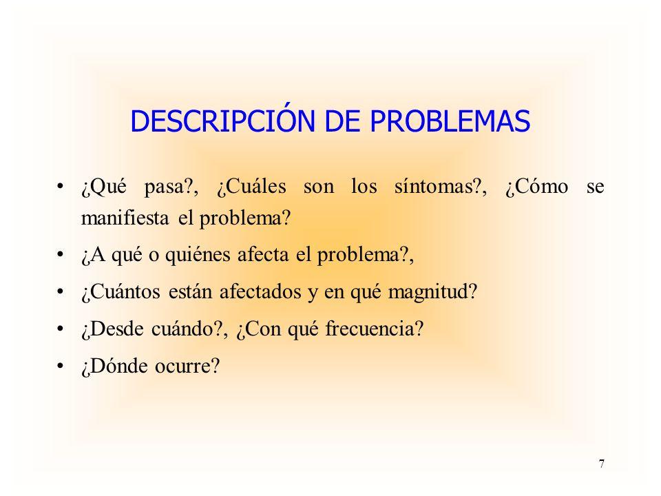 DESCRIPCIÓN DE PROBLEMAS
