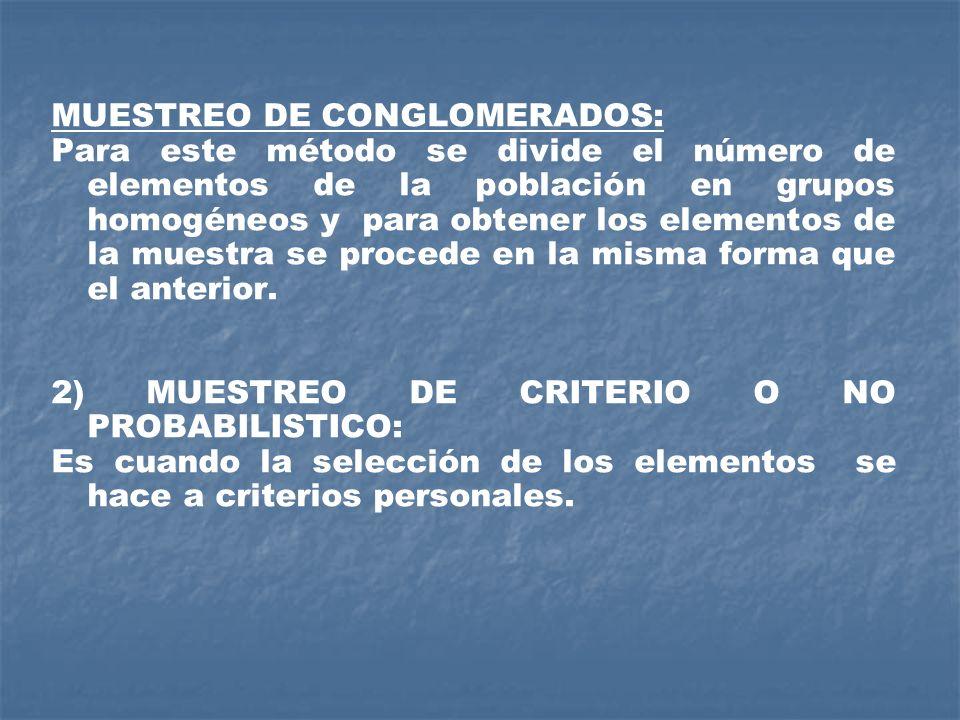 MUESTREO DE CONGLOMERADOS: