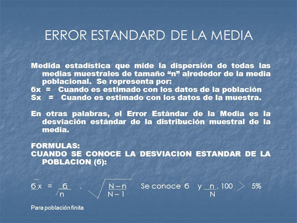 ERROR ESTANDARD DE LA MEDIA