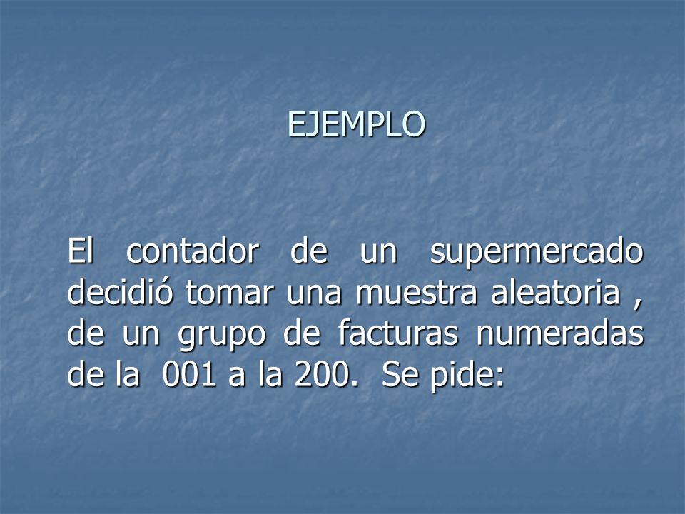 EJEMPLO El contador de un supermercado decidió tomar una muestra aleatoria , de un grupo de facturas numeradas de la 001 a la 200.