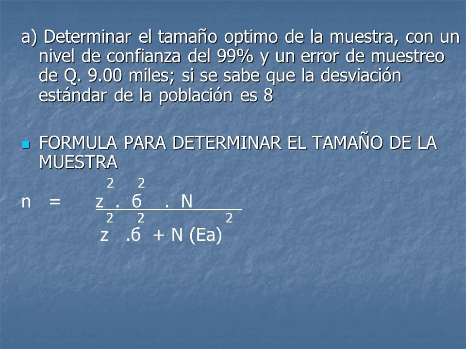FORMULA PARA DETERMINAR EL TAMAÑO DE LA MUESTRA 2 2 n = z . б . N_____