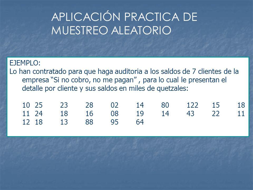 APLICACIÓN PRACTICA DE MUESTREO ALEATORIO