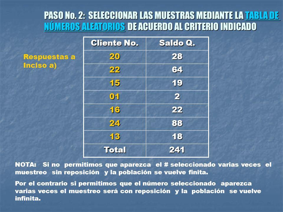 PASO No. 2: SELECCIONAR LAS MUESTRAS MEDIANTE LA TABLA DE
