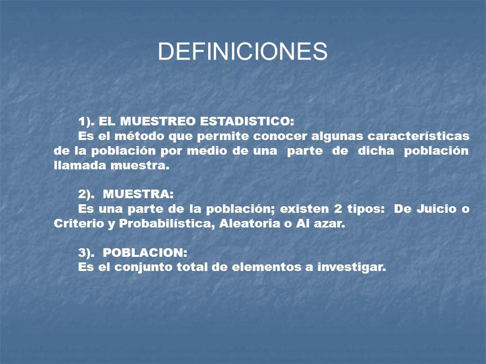 DEFINICIONES 1). EL MUESTREO ESTADISTICO: