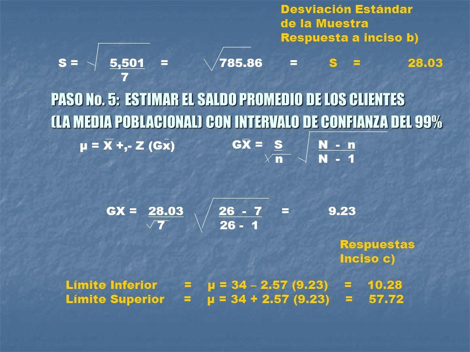 PASO No. 5: ESTIMAR EL SALDO PROMEDIO DE LOS CLIENTES
