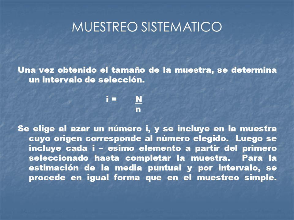 MUESTREO SISTEMATICO Una vez obtenido el tamaño de la muestra, se determina un intervalo de selección.