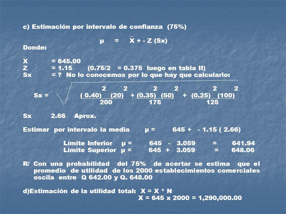 c) Estimación por intervalo de confianza (75%)