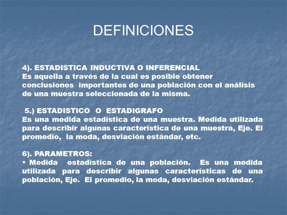 DEFINICIONES 4). ESTADISTICA INDUCTIVA O INFERENCIAL