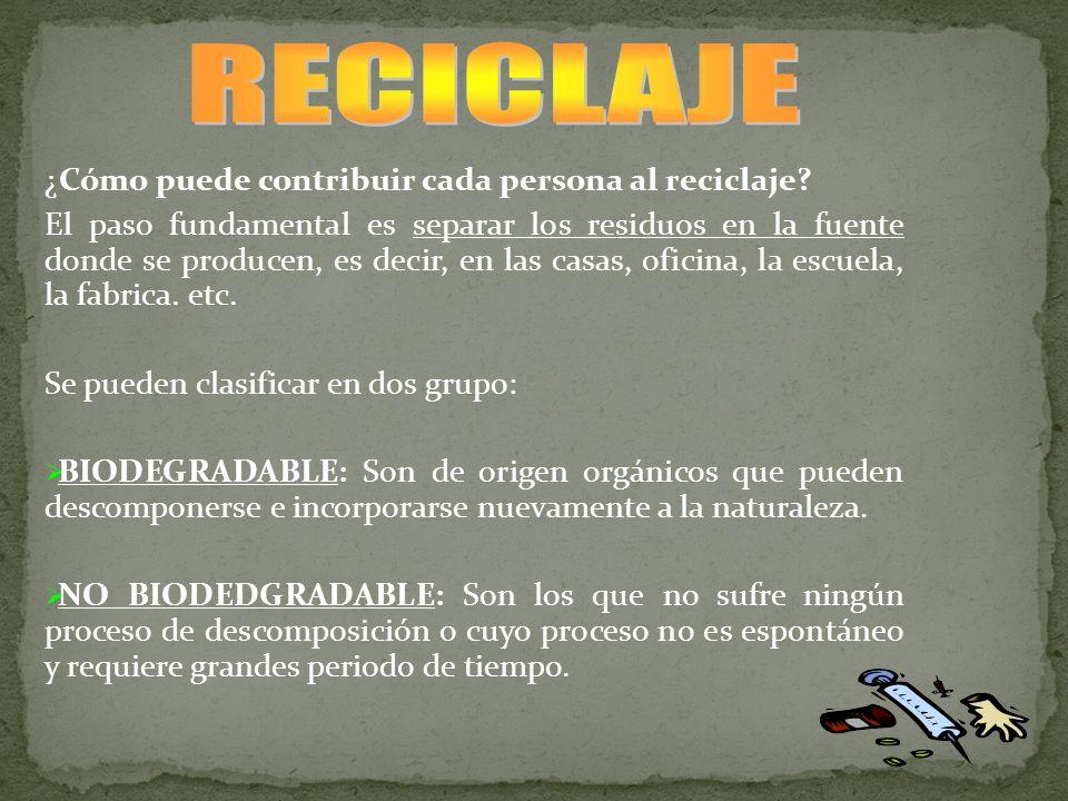 RECICLAJE ¿Cómo puede contribuir cada persona al reciclaje