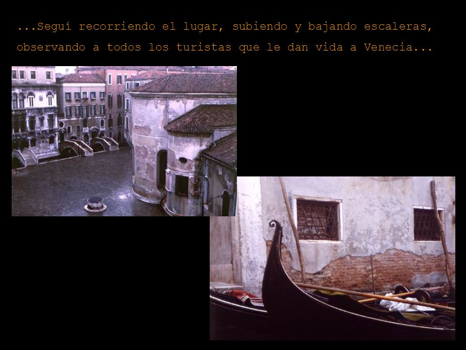 ...Seguí recorriendo el lugar, subiendo y bajando escaleras, observando a todos los turistas que le dan vida a Venecia...