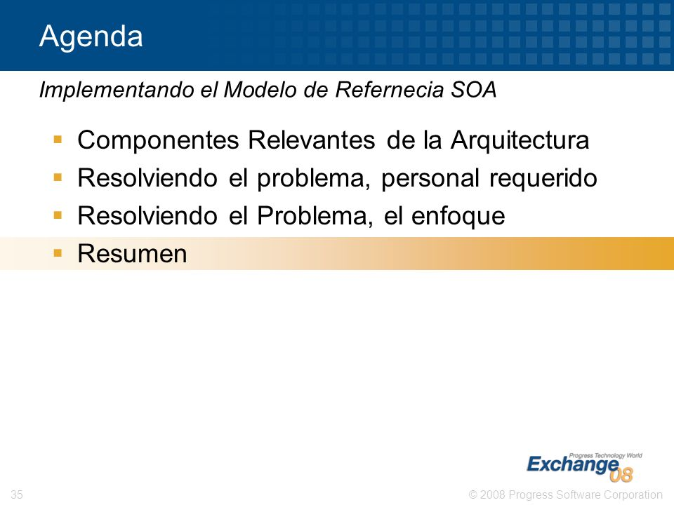 Agenda Componentes Relevantes de la Arquitectura