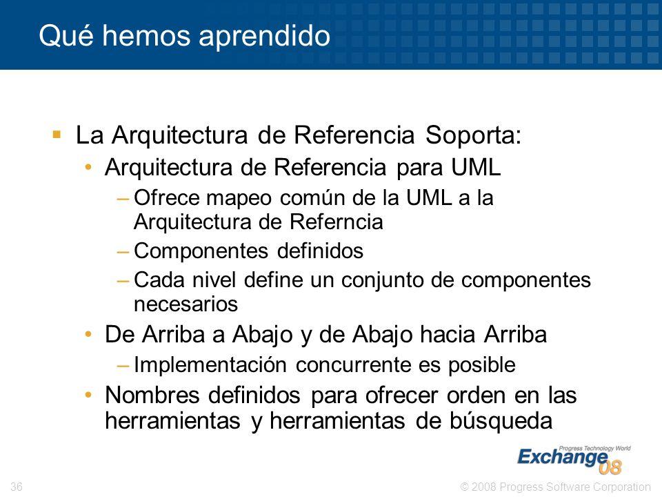 Qué hemos aprendido La Arquitectura de Referencia Soporta: