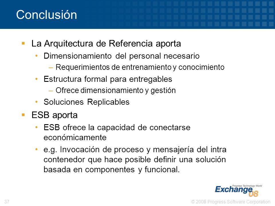 Conclusión La Arquitectura de Referencia aporta ESB aporta