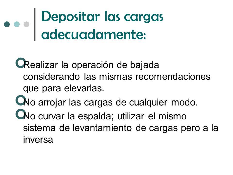 Depositar las cargas adecuadamente: