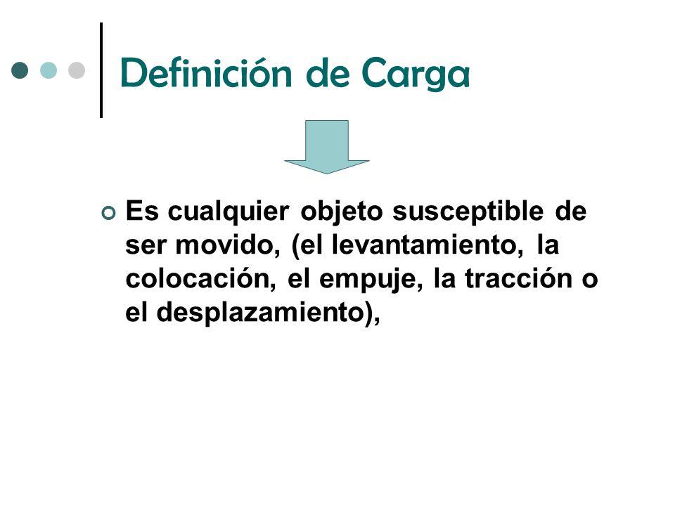 Definición de Carga Es cualquier objeto susceptible de ser movido, (el levantamiento, la colocación, el empuje, la tracción o el desplazamiento),