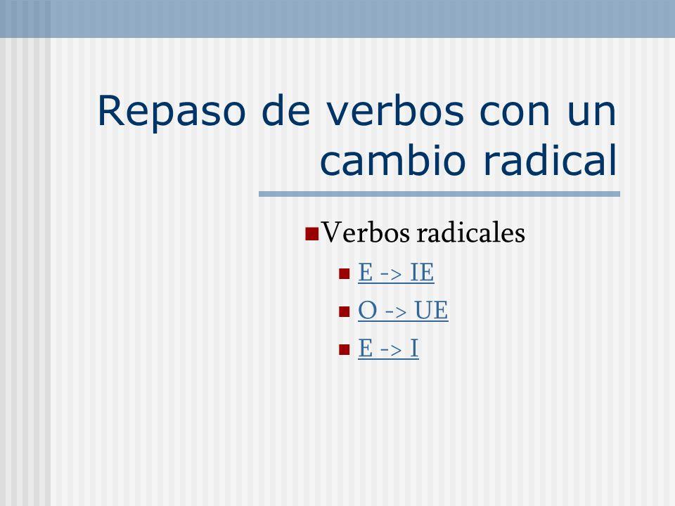 Repaso de verbos con un cambio radical