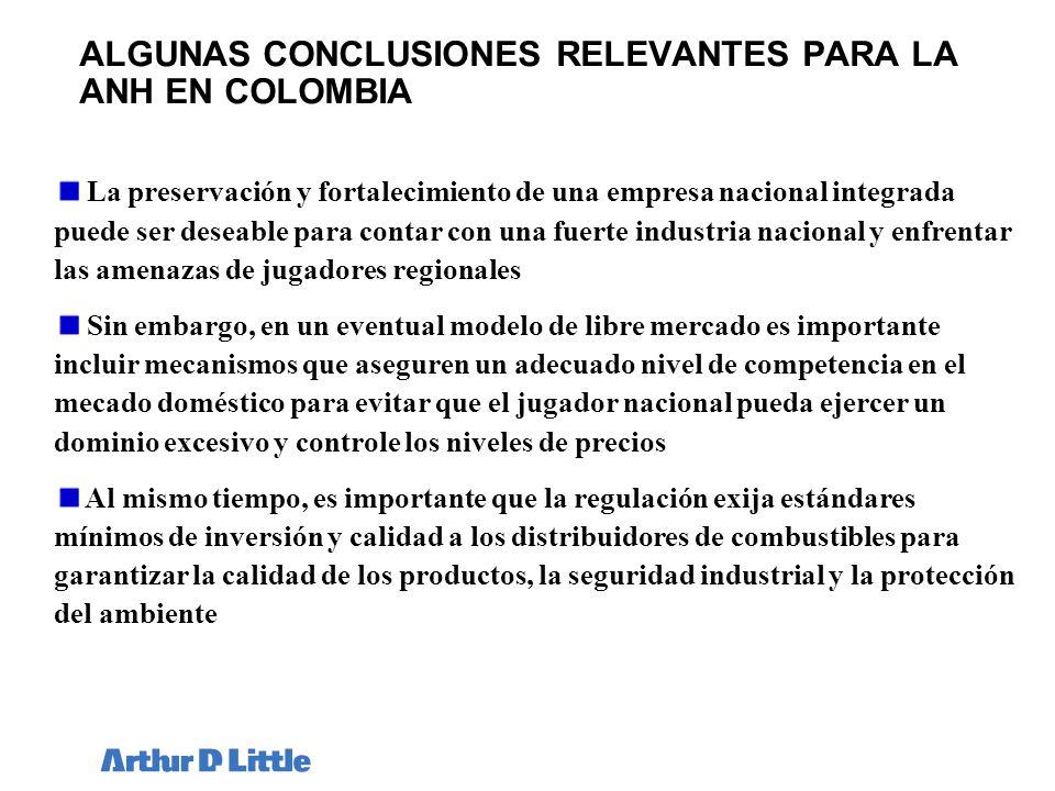 ALGUNAS CONCLUSIONES RELEVANTES PARA LA ANH EN COLOMBIA