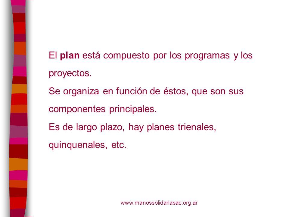 El plan está compuesto por los programas y los proyectos.