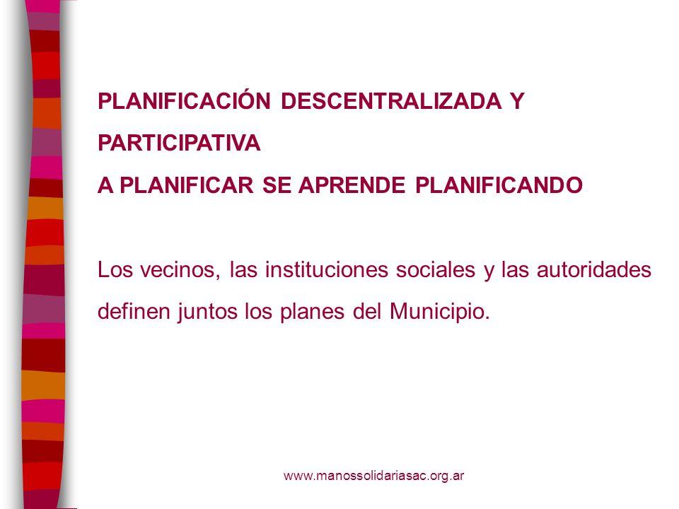 PLANIFICACIÓN DESCENTRALIZADA Y PARTICIPATIVA