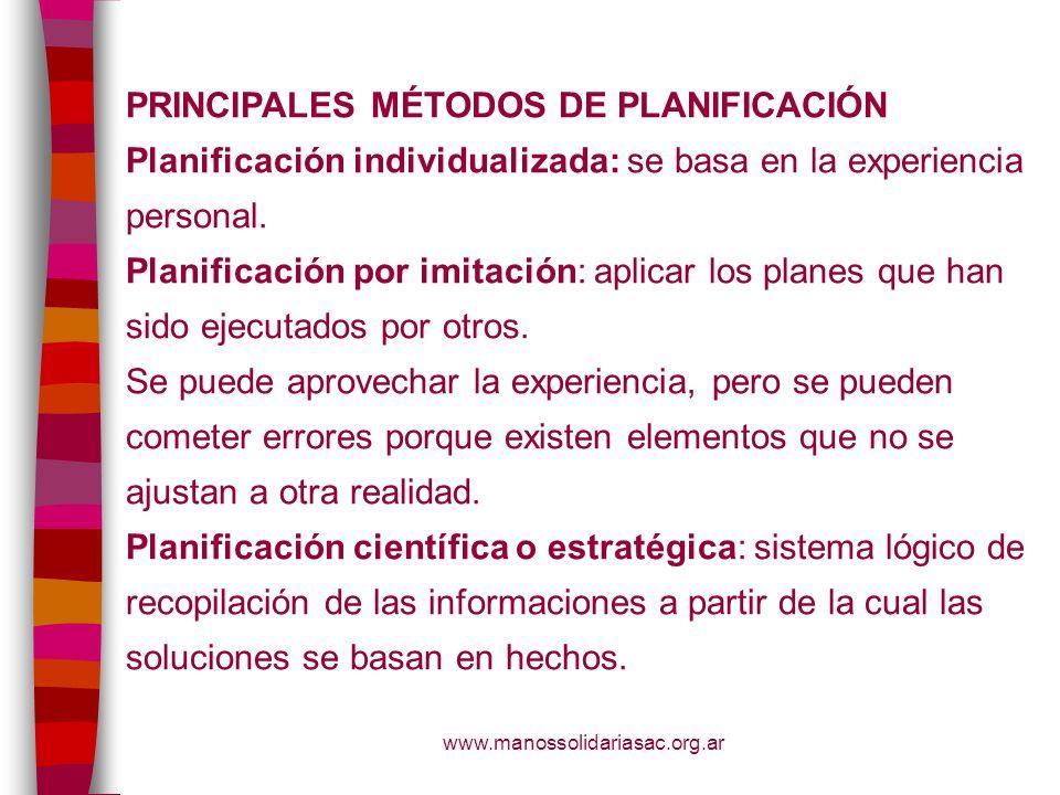 PRINCIPALES MÉTODOS DE PLANIFICACIÓN
