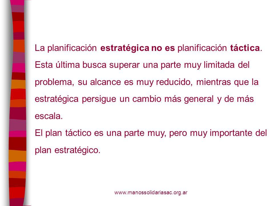 La planificación estratégica no es planificación táctica.