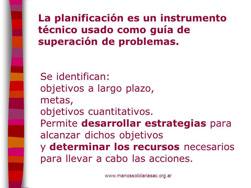 La planificación es un instrumento técnico usado como guía de superación de problemas.