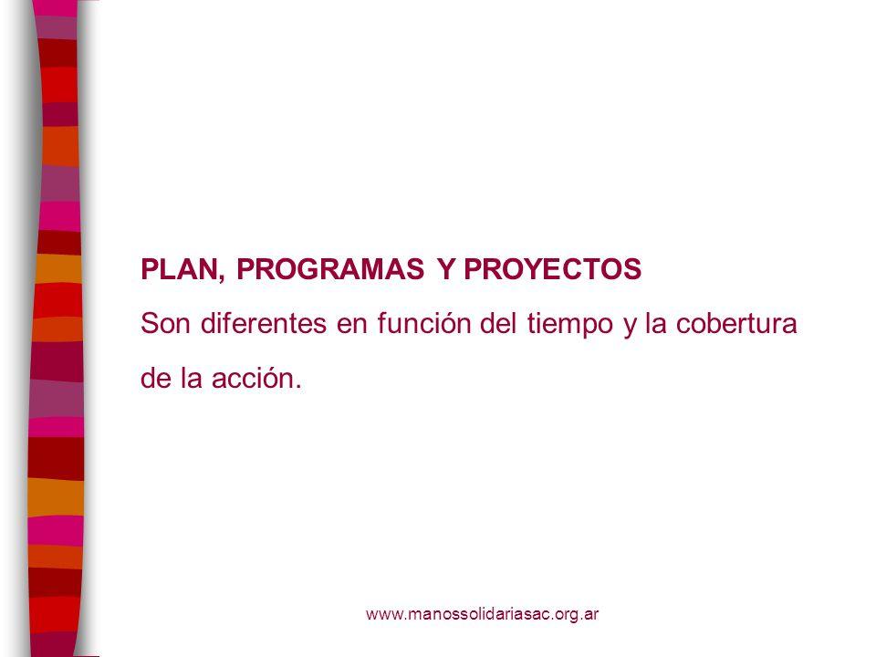 PLAN, PROGRAMAS Y PROYECTOS