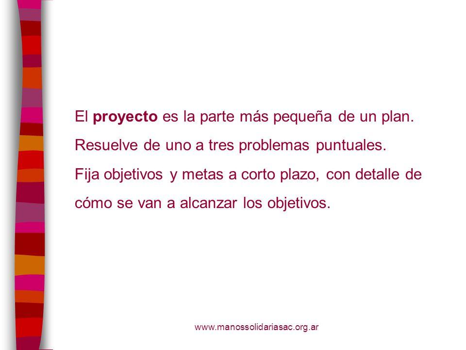 El proyecto es la parte más pequeña de un plan.