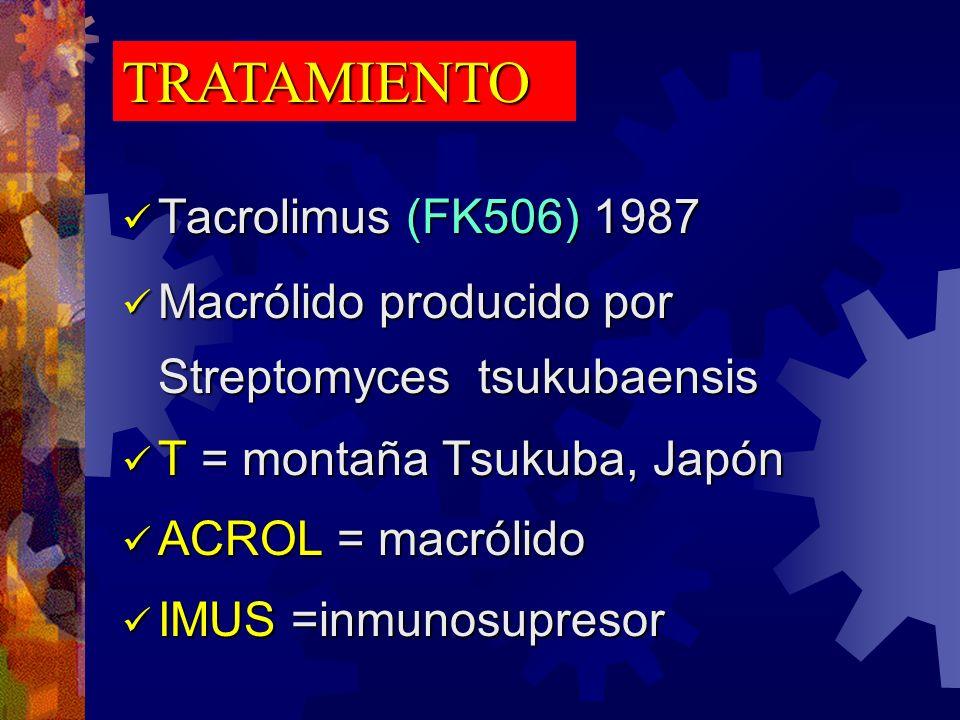 TRATAMIENTO Tacrolimus (FK506) 1987