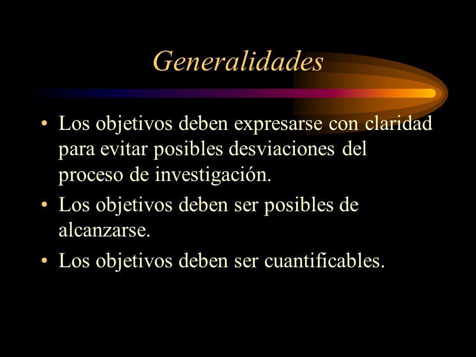 Generalidades Los objetivos deben expresarse con claridad para evitar posibles desviaciones del proceso de investigación.