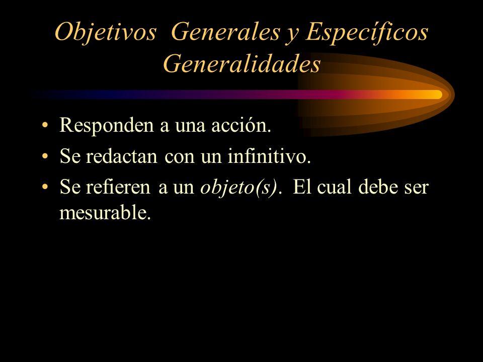 Objetivos Generales y Específicos Generalidades