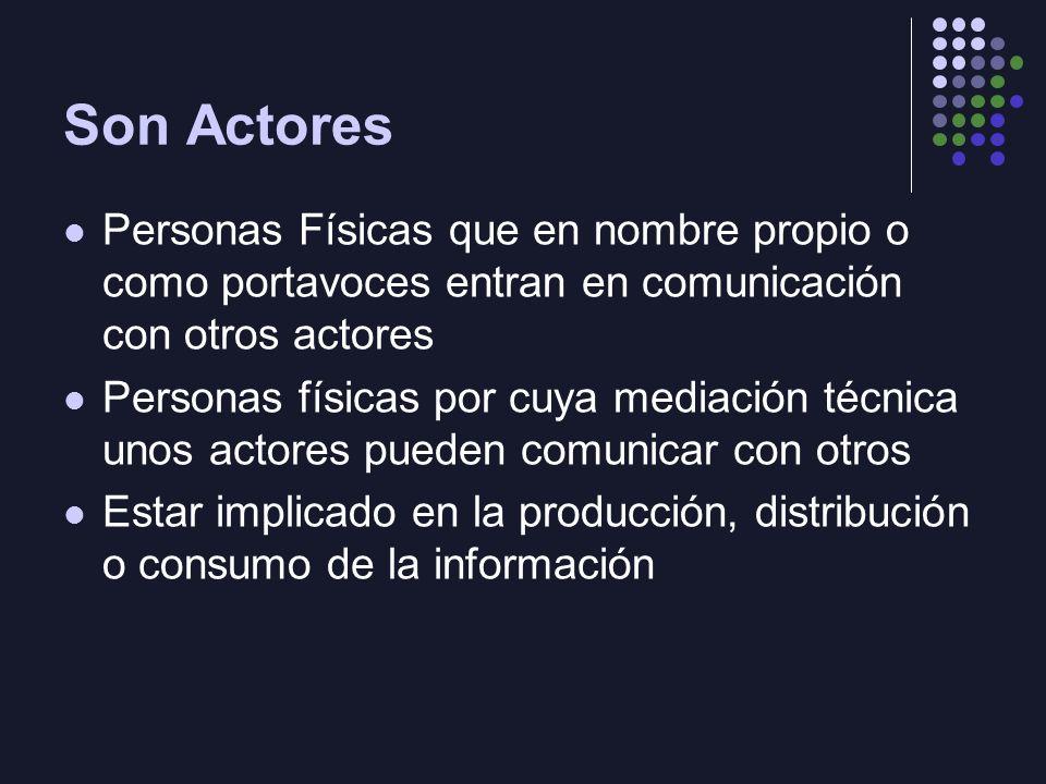Son Actores Personas Físicas que en nombre propio o como portavoces entran en comunicación con otros actores.