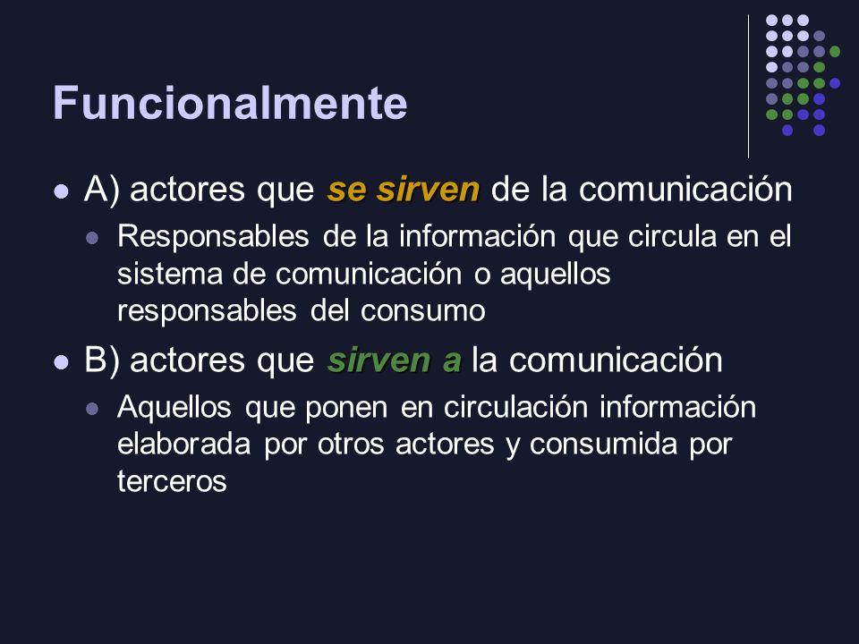 Funcionalmente A) actores que se sirven de la comunicación
