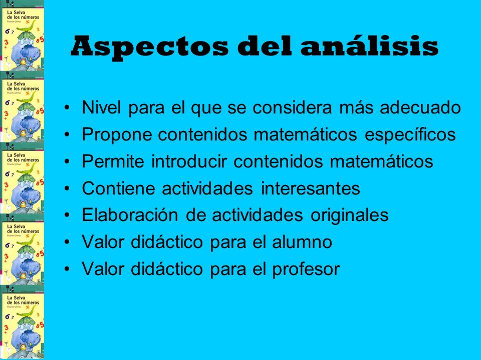 Aspectos del análisis Nivel para el que se considera más adecuado