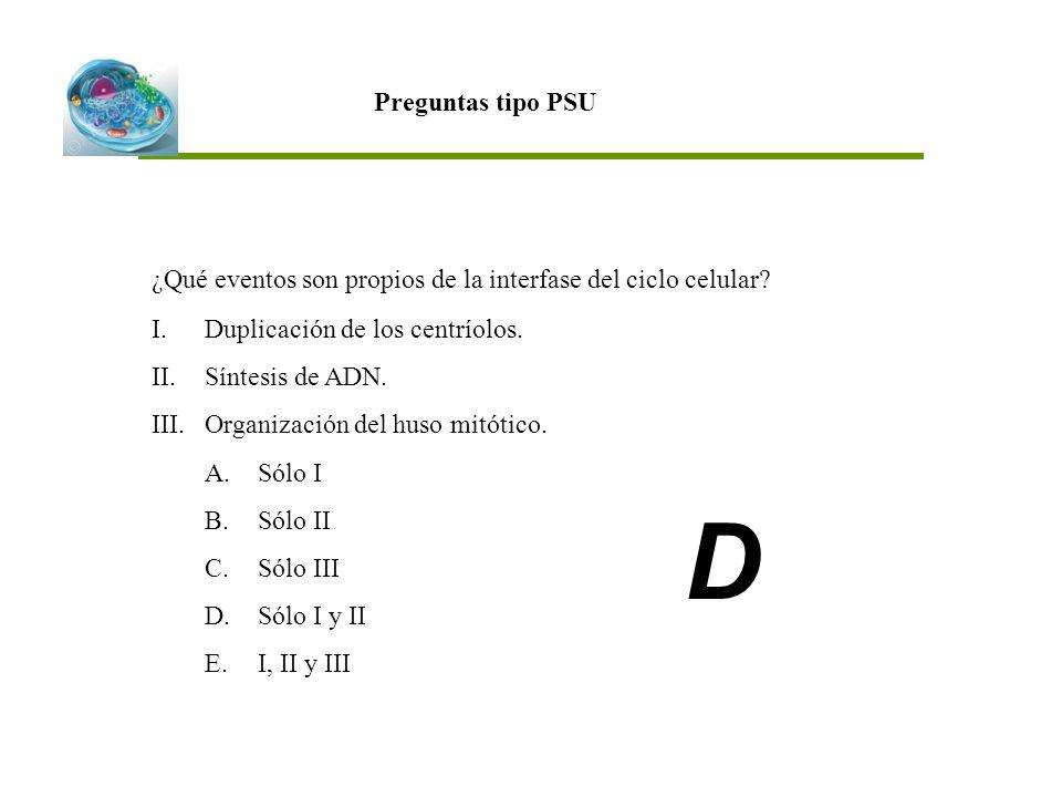Preguntas tipo PSU ¿Qué eventos son propios de la interfase del ciclo celular Duplicación de los centríolos.