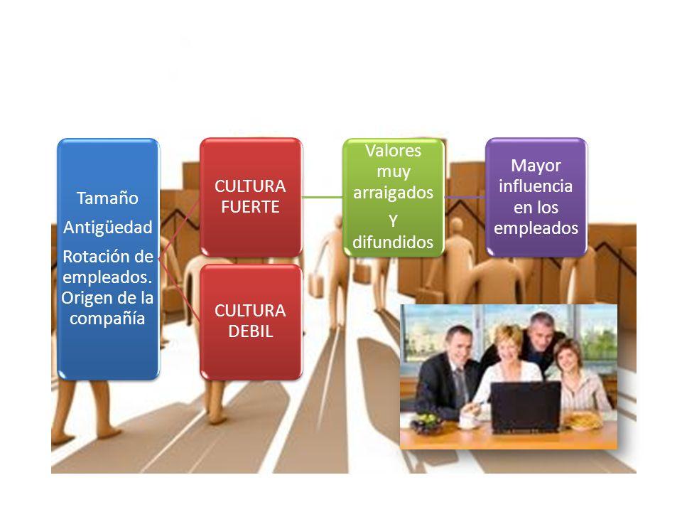 Rotación de empleados. Origen de la compañía CULTURA FUERTE
