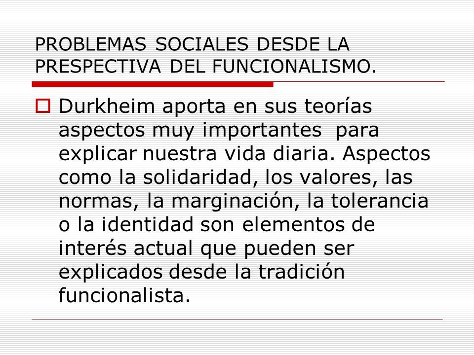 PROBLEMAS SOCIALES DESDE LA PRESPECTIVA DEL FUNCIONALISMO.