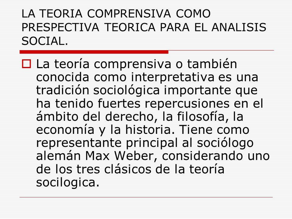 LA TEORIA COMPRENSIVA COMO PRESPECTIVA TEORICA PARA EL ANALISIS SOCIAL.